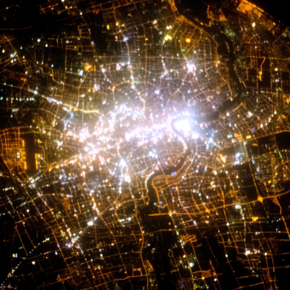 8/27/2015 Shanghai at night Shanghai, China 31.230416000°, 121.473701000°   Shanghai, China - seen here at night from the International Space Station - is the largest city in China with a population of more than 24 million people. Image courtesy of Nasa.
