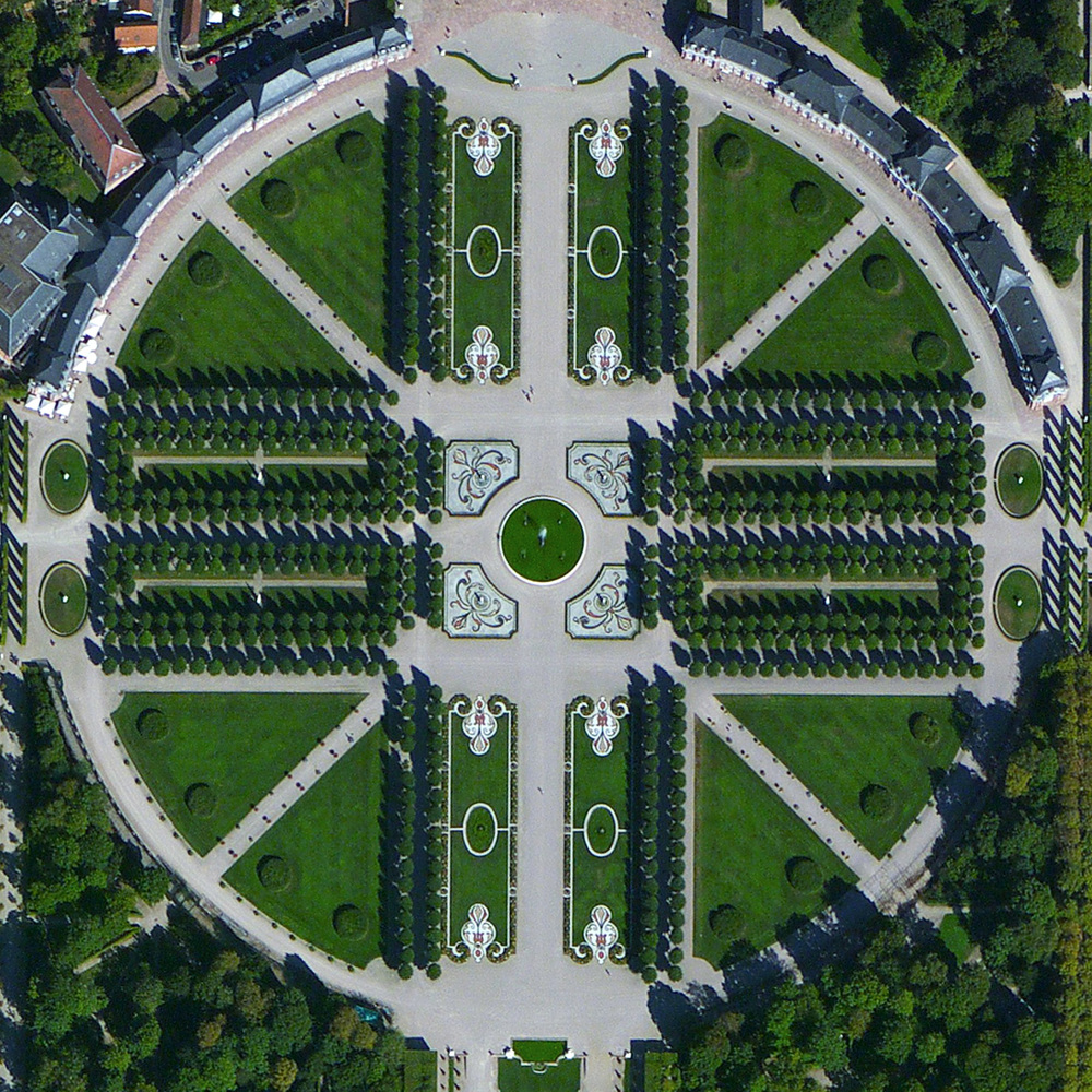 "8/28/2015 Schwetzingen Palace Baden-Württemberg, Germany 49°23′03″N 8°34′14″E   Schwetzingen Palace is located in the German state of Baden-Württemberg. Built in stages from 1700 until 1750, the grounds of the palace feature ornate gardens that were designed in the styles of the the ""French formal garden"" and the ""English landscape garden""."