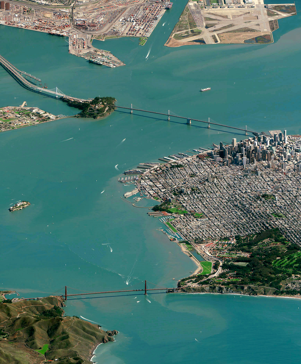 Check out this detail shot of the Golden Gate Bridge, the Bay Bridge, and downtown San Francisco from yesterday's Overview. You can also see the full print, by clicking on the link here: http://www.dailyoverview.com/printshop/sflowangle