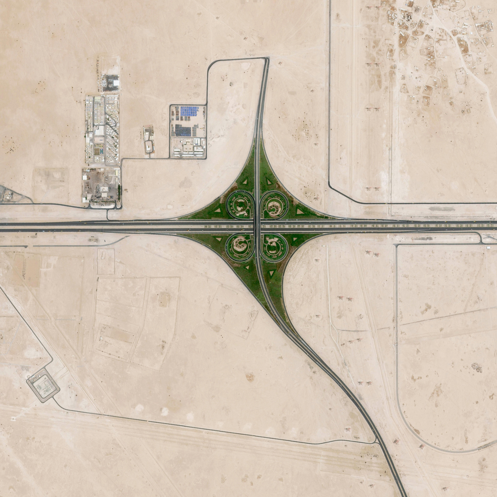 4/6/2016 Cloverleaf interchange Doha, Qatar 25.1746896, 51.326337   A cloverleaf interchange is constructed on the outskirts of Doha, Qatar. The objective of a cloverleaf is to allow two highways to cross without the need to stop traffic.