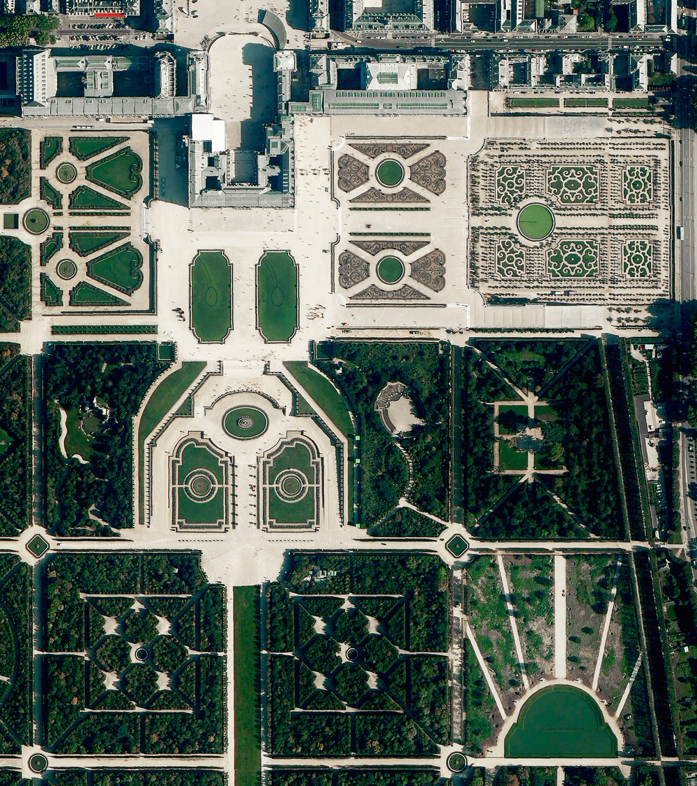 4/8/2016   Gardens of Versailles   Versailles, France  48°48′29″N 2°6′30″E     The Gardens of Versailles are situated across 2,000 acres of land behind the Palace of Versailles, 19 kilometers (12 miles) outside of Paris. The grounds are landscaped in the classic French garden style, including one section known as The Orangerie - an area seen here at the upper right that contains more than one thousand (primarily orange) trees.