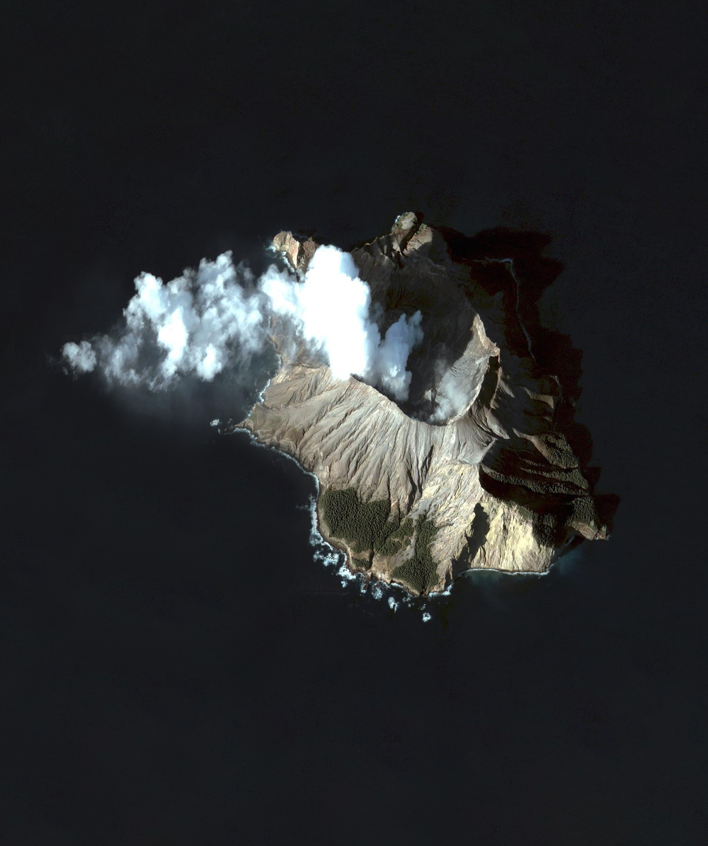 4/9/2016   Whakaari / White Island   Bay of Plenty, New Zealand  37°31′S 177°11′E     Whakaari, also known as White Island, is an active stratovolcano, situated 48 km (30 mi) from the North Island of New Zealand in the Bay of Plenty. Whakaari is New Zealand's most active volcano, and has been built up by continuous eruptions over the past 150,000 years. The island is approximately 2 km (1.2 mi) in diameter and rises to a height of 321 m (1,053 ft) above sea level.