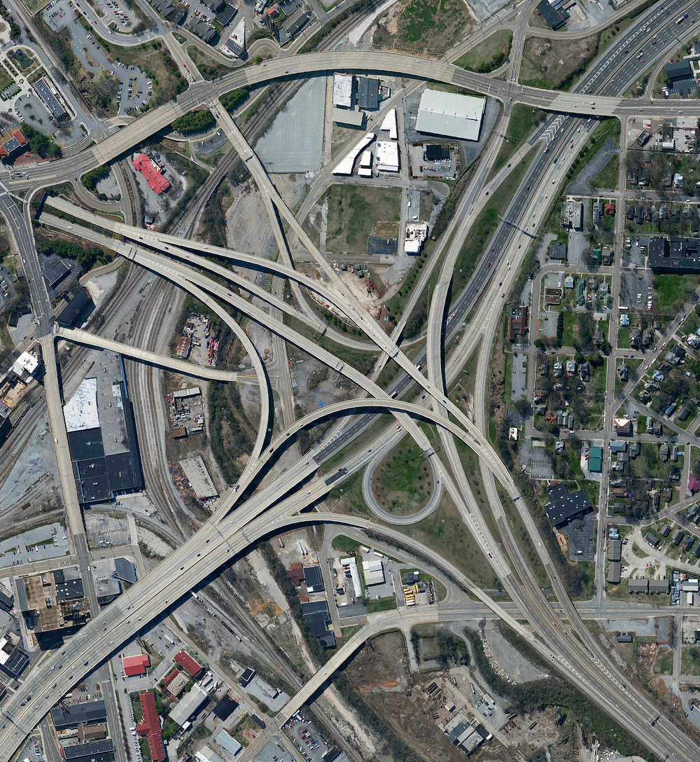 "5/29/2016  Spaghetti Junction  Knoxville, Tennessee, USA  35.9663844, -83.929399     A highway interchange connect Interstates 40 and 275 outside of Knoxville, Tennessee, USA. Because of its intertwined construction, a structure like this is commonly called a ""spaghetti junction."""