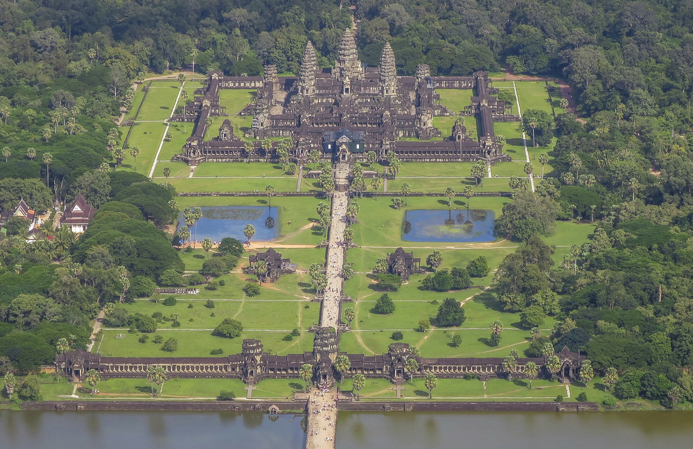 Angkor Wat is a temple complex in Cambodia that is the largest religious monument in the world (first it was Hindu, then Buddhist). Constructed in the 12th century, the 820,000 square meter site features a moat and forest that harmoniously surround a massive temple at its center. This incredible shot was captured via helicopter by our friend Diego Salinas