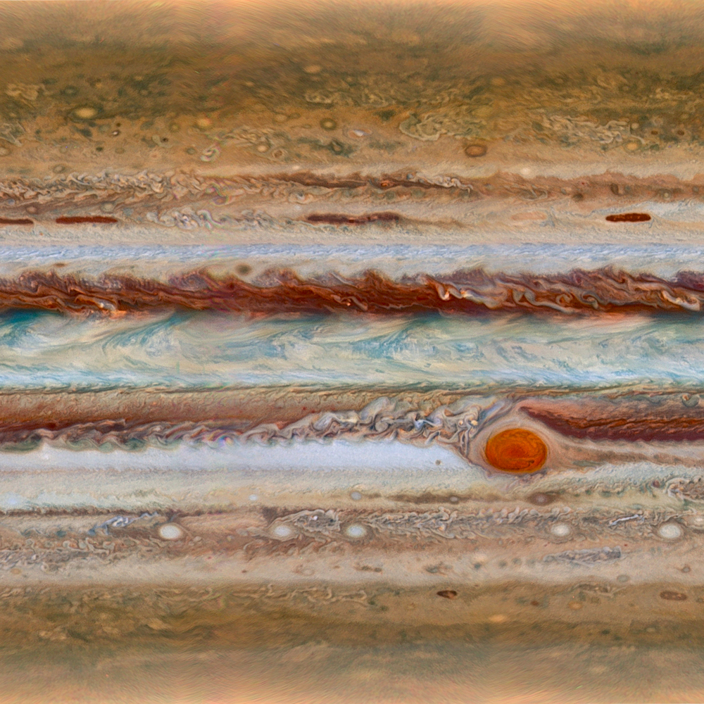 After five years of travel to Jupiter, NASA's  Juno spacecraft  entered into the massive planet's orbit late last night. For a sense of scale, the Great Red Spot you can see here at right is far larger than all of planet Earth! Jupiter was most likely the first planet formed after our sun and the technology aboard Juno could lead us to have a better understanding of the origins of our solar system. This Overview was created from a composite of imagery fro the Hubble Telescope that shows the entire surface of the planet at once.  The focus of Daily Overview is usually on Earth, but this exciting event inspired us to look outwards for a moment, rather than back at ourselves. Beyond changing the way we see our planet, we believe an inquisitive gaze into the greater universe that surrounds us can do wonders for our yearning to explore and to help us find the perspective that we need.  Image courtesy of NASA