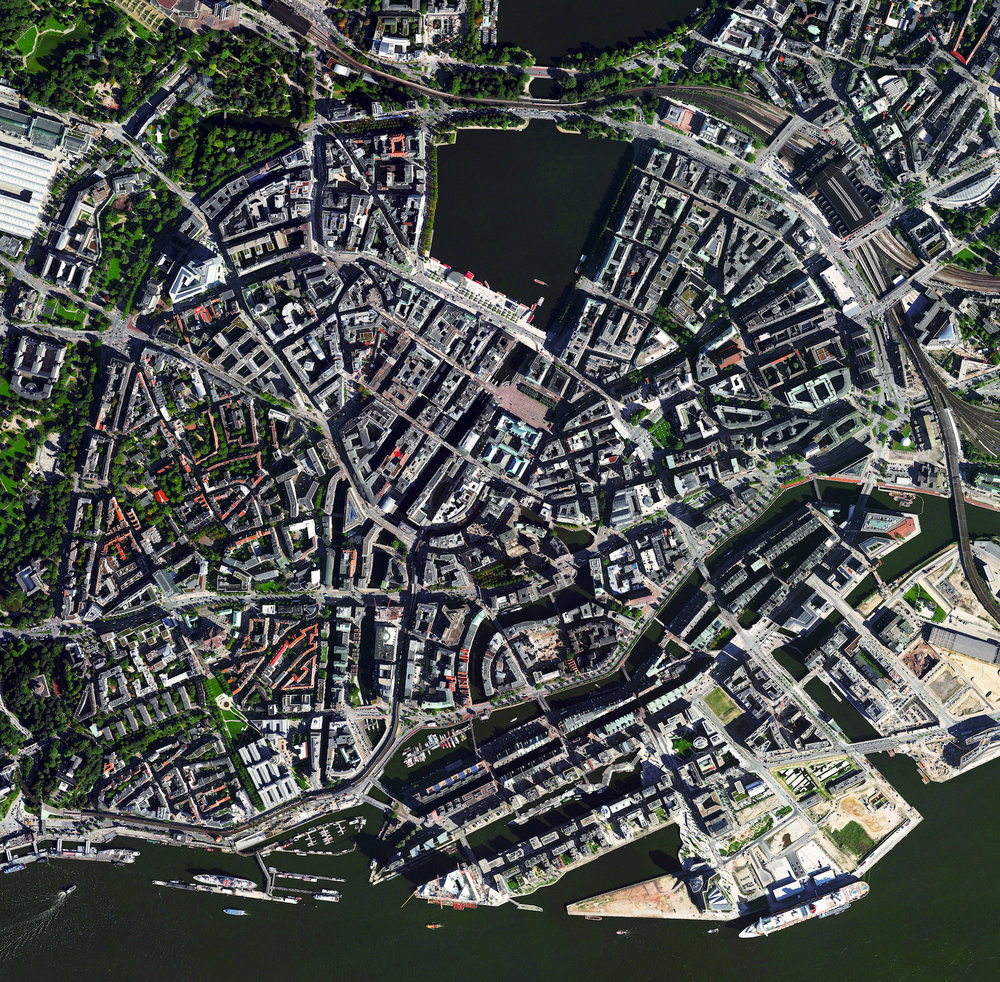 3/13/2017 Hamburg Hamburg, Germany 53.551527,9.9858394 Situated on the River Elbe, Hamburg is the second largest city in Germany and eighth largest in the European Union. The city center, seen here, is situated around the Binnenalster, one of two artificial lakes built within its limits. Hamburg also contains the second largest port in Europe, which ships roughly 134 million tons of goods every year.