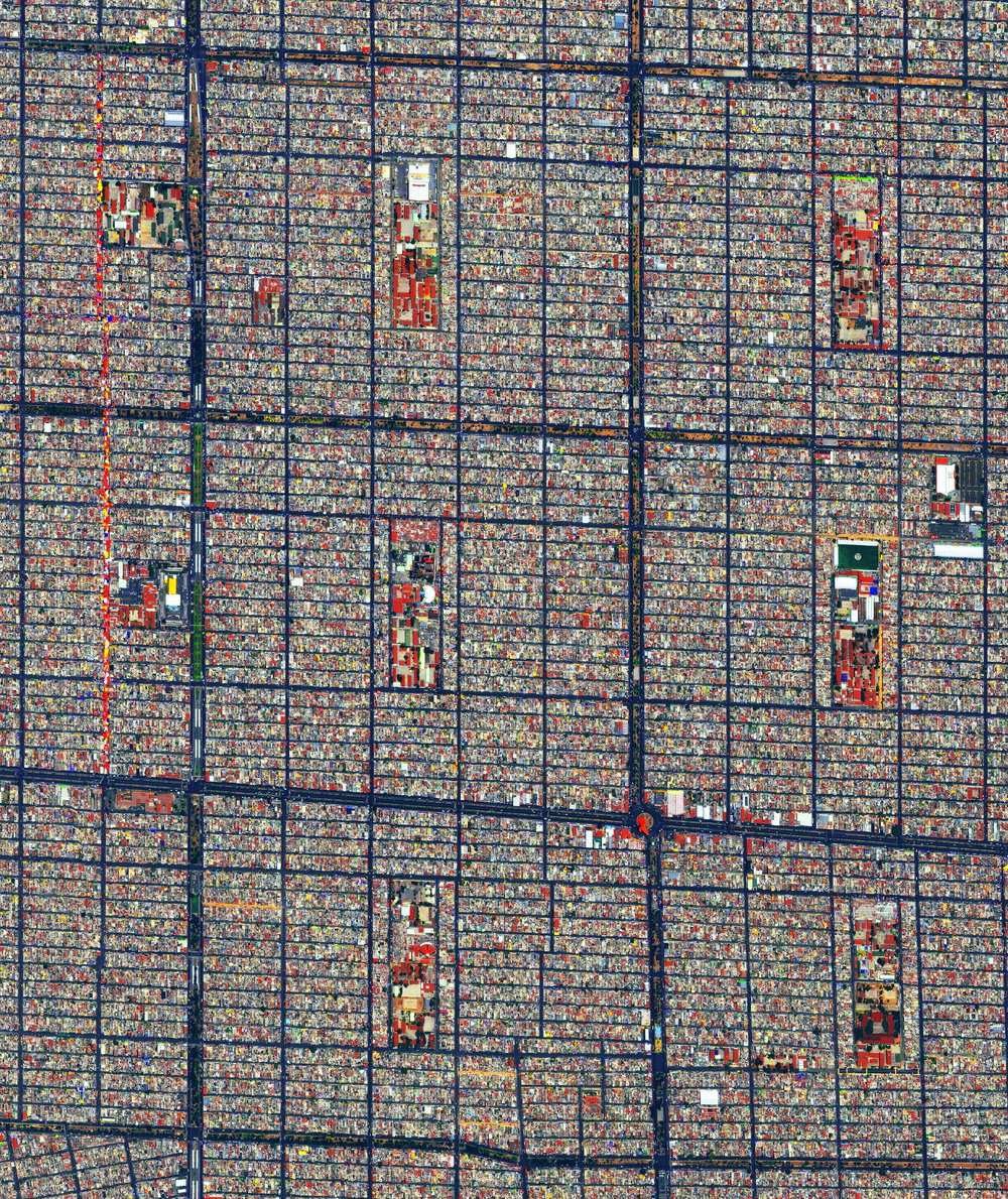 4/11/2017  Mexico City  Mexico City, Mexico  19.407452, -99.027845  With a population of 21.2 million people, Greater Mexico City is second-largest metropolitan area in the Western Hemisphere. The Nezahualcoyotl District is seen here. By the 1990s Mexico City had become infamous as one of the world's most polluted cities, but has improved the air quality of the city drastically since to be roughly comparable to Los Angeles.  Source imagery: DigitalGlobe