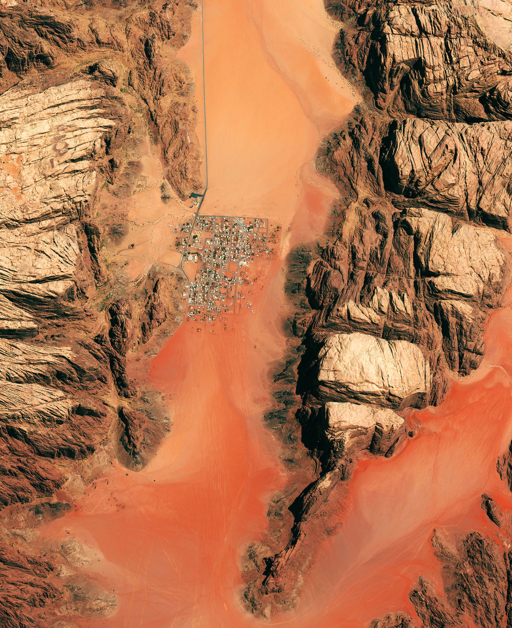 5/19/2017 Wadi Rum Jordan 29.572469, 35.420807 Wadi Rum is a village in Jordan that has been populated by humans since prehistoric times (8th century BC). Early inhabitants left they mark in the form of rock paintings which have been thoroughly analyzed by historians. The area has also served as a film set for movies such as The Martian, and Star Wars Rouge One. Source imagery: DigitalGlobe