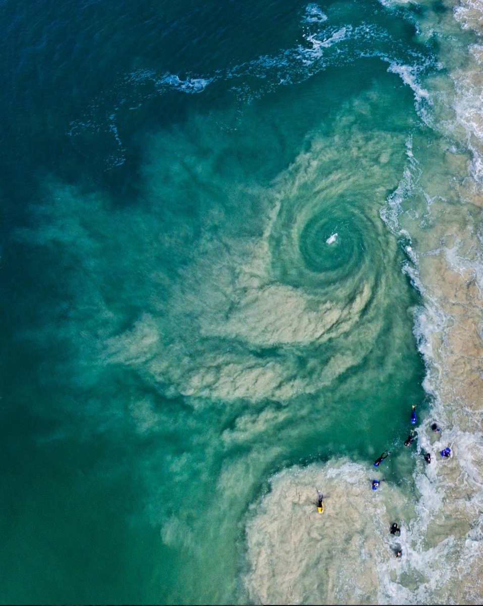 5/20/22017 Whirlpool Perth, Australia  Check out this amazing drone shot of a whirlpool in Perth, Western Australia. Whirlpools are caused by the meeting of two opposing currents, causing water to spin around rapidly. This particular whirlpool was likely caused by a combination of big swell, receding tide, and a nearby rock wall. Photo by: Chris White