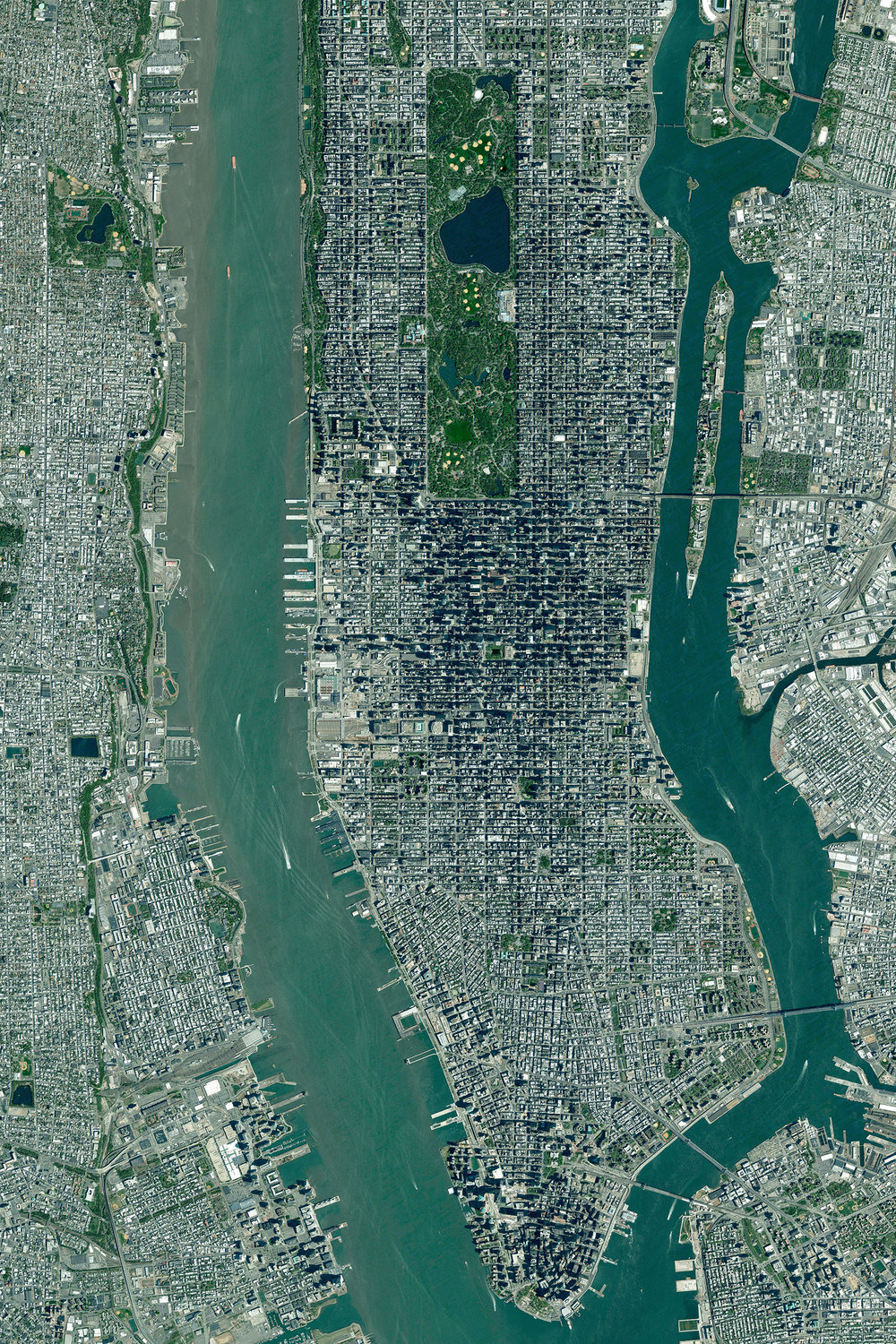 Manhattan is the most densely populated borough in New York City and is home to roughly 1.6 million people. With an area of nearly 23 square miles, there are approximately 72,000 people for every square mile. This Overview is now available in our  PRINTSHOP  where we are now offering 20% OFF all prints with coupon code 'HOLIDAY20'.  40°47′25″N 73°57′35″W