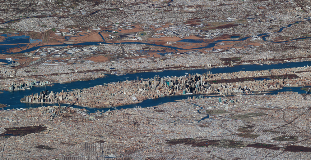 Check out this remarkable view of downtown New York City captured by the DigitalGlobe Worldview-3 satellite at an extremely low-angle. We're pumped to announce that we just added this shot to our Printshop along with four others. You can check out what we added here: http://www.dailyoverview.com/printshop/newreleases This particular shot is made possible due to the focal length of the camera in this satellite that is roughly 32 times longer than that of a standard DSLR camera. Within the full expansive Overview, many of the city's landmarks are clearly visible, including the Statue of Liberty, both JFK and LaGuardia airports, the skyscrapers of Midtown, Central Park, and the George Washington Bridge.