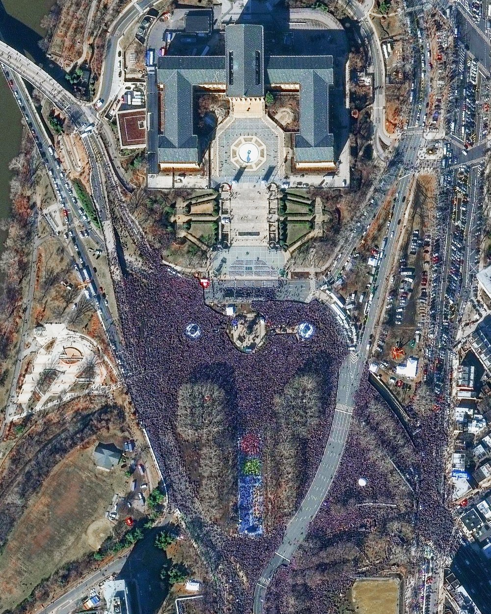 Millions of fans flooded the streets of Philadelphia, Pennsylvania yesterday to attend the Super Bowl parade for the Eagles' championship victory. Official estimates suggest more than two million fans were in attendance, including a massive collection of people seen here in front of the Philadelphia Museum of Art.  39.9655697, -75.1809661