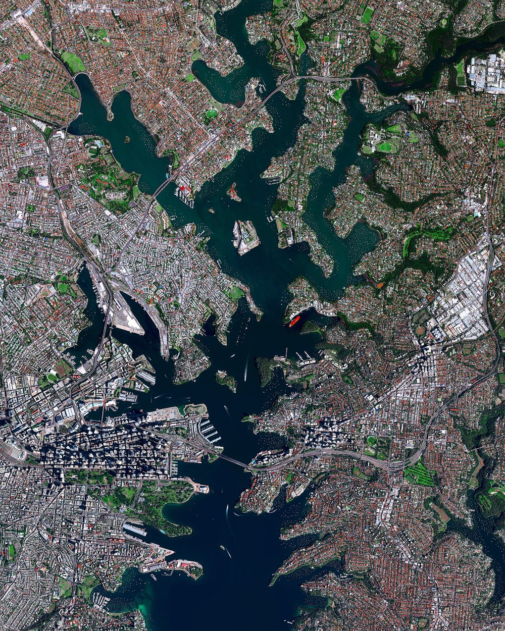 Check out this stunning view of Sydney, Australia. The city is the most populous on the continent with more than five million residents. The geography of the city - located on the Tasman Sea and built around numerous harbors and inlets - is captured in this Overview.  -33.8679058, 151.2012372  Source imagery: DigitalGlobe