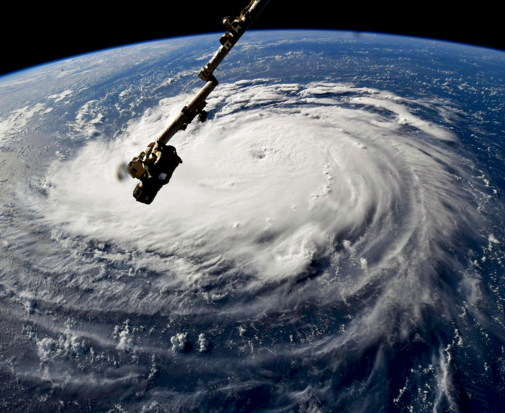Check out this incredible Overview of Hurricane Florence, taken yesterday by NASA Astronaut Ricky Arnold aboard the International Space Station. The Category 4 storm is producing 140-mile-an-hour winds and is expected to gain strength today as it nears a Category 5 classification. Florence is currently moving north through the Atlantic Ocean, on path to make landfall in North and South Carolina by Thursday morning.  Source imagery: NASA - National Aeronautics and Space Administration