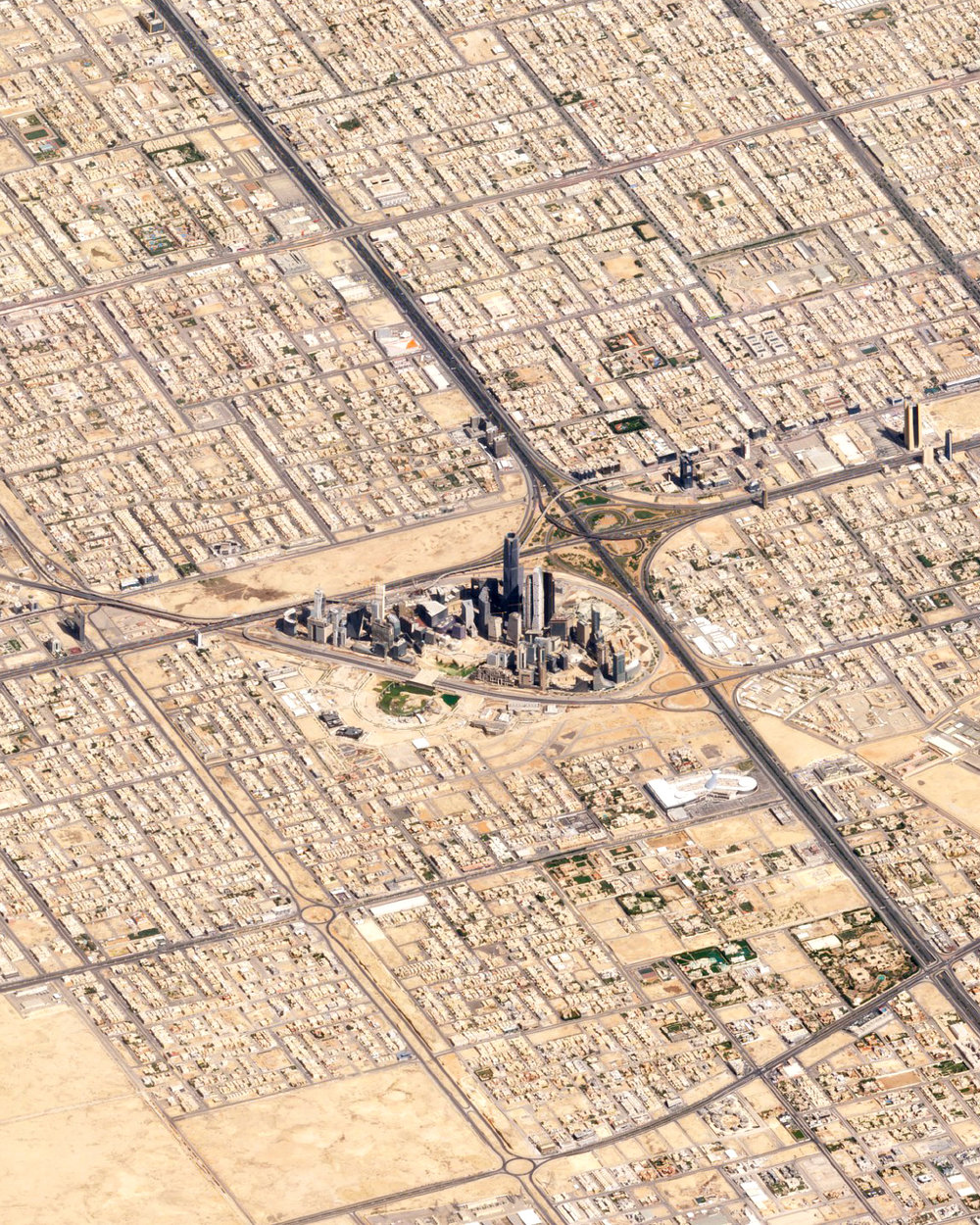 """Check out this amazing view of Riyadh, Saudi Arabia, captured by a Planet satellite at a low angle. Riyadh is Saudi Arabia's capital and most populous city, with more than 7.6 million residents. At the center of this Overview is the King Abdullah Financial District, a $10 billion development project that began in 2006 and is now more than 70% complete.  24°38'00.0""""N, 46°43'00.0""""E  Source imagery: Planet"""