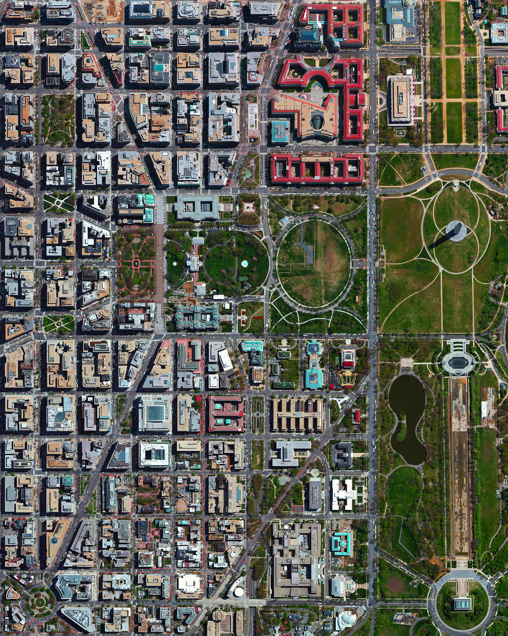 """Today our founder, Benjamin Grant, will be speaking at the annual Mapbox SatSummit in Washington, D.C. Founded as the capital of the United States in 1790, Washington, D.C. was originally shaped as a square measuring 10 miles (16 km) on each side. However, since some land was returned to the state of Virginia in 1846, the federal district today measures 68.34 square miles (177 sq. km) and is home to nearly 700,000 people.  38°54'17.0""""N, 77°00'59.0""""W  Source imagery: DigitalGlobe"""