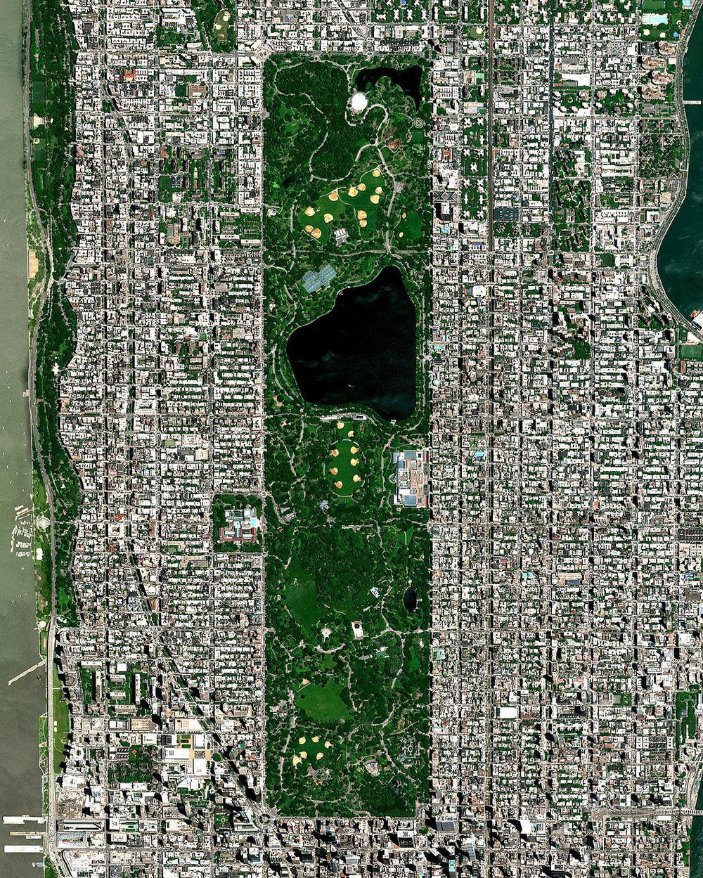 "This Overview captures Central Park in New York City. Located in the middle of Manhattan, the park spans 843 acres — or 6% of the borough. One of the most influential innovations in the park's design was its ""separate circulation"" systems for pedestrians, horseback riders, and automobiles. This concealed ""crosstown"" commercial traffic in sunken roadways (known as ""transverses"" today), and densely planted shrub belts in order to maintain a rustic ambiance.  40°46'56.0""N, 73°57'55.0""W  Source imagery: DigitalGlobe"
