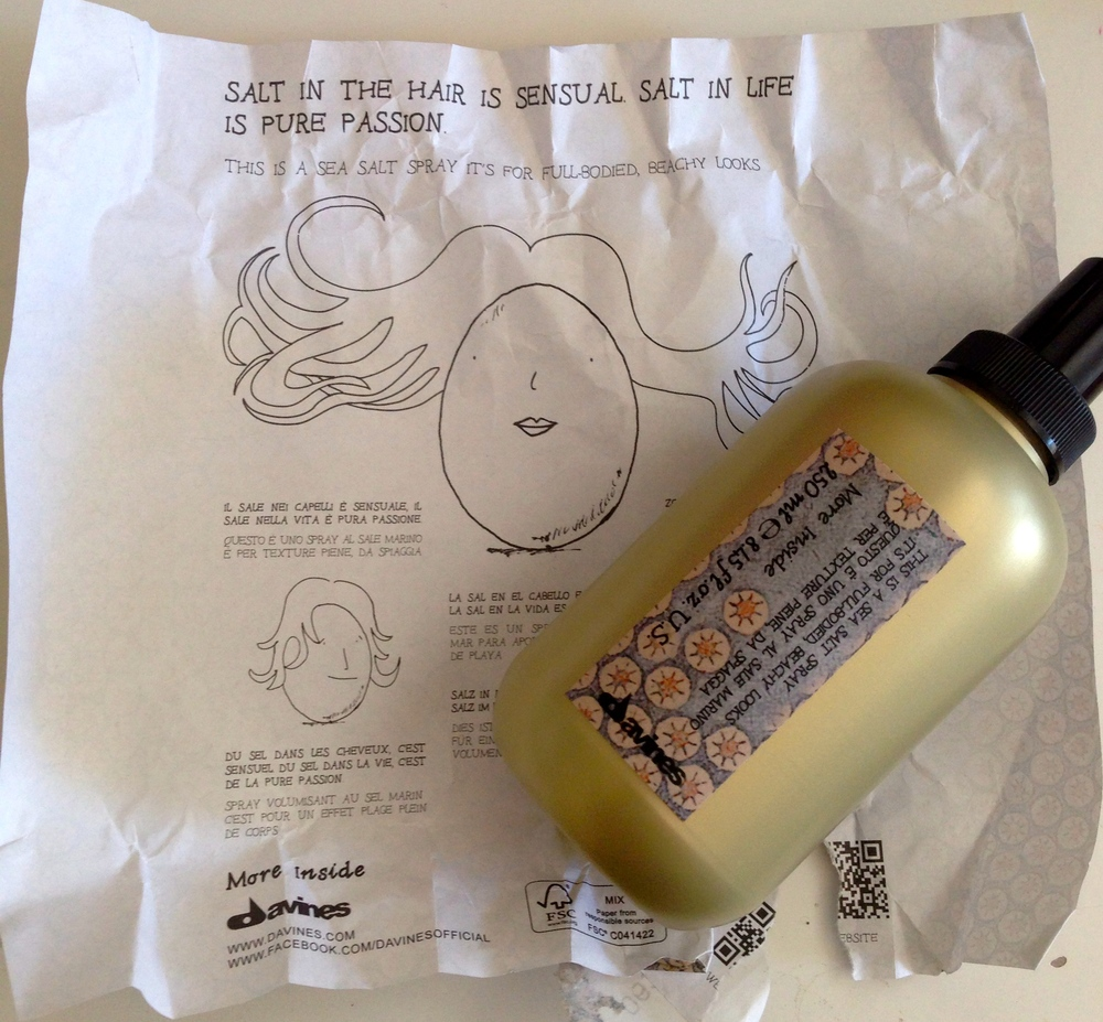 Adorable packaging of the Davines This Is A Sea Salt Spray.