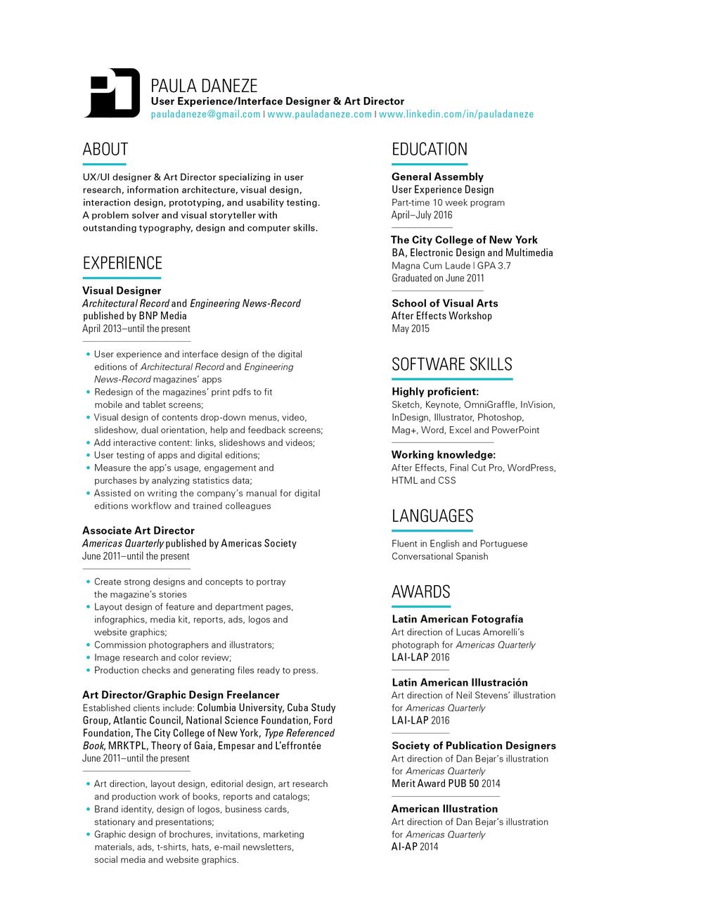 Resume User Experience Resume user experience resume paula daneze for ui daneze
