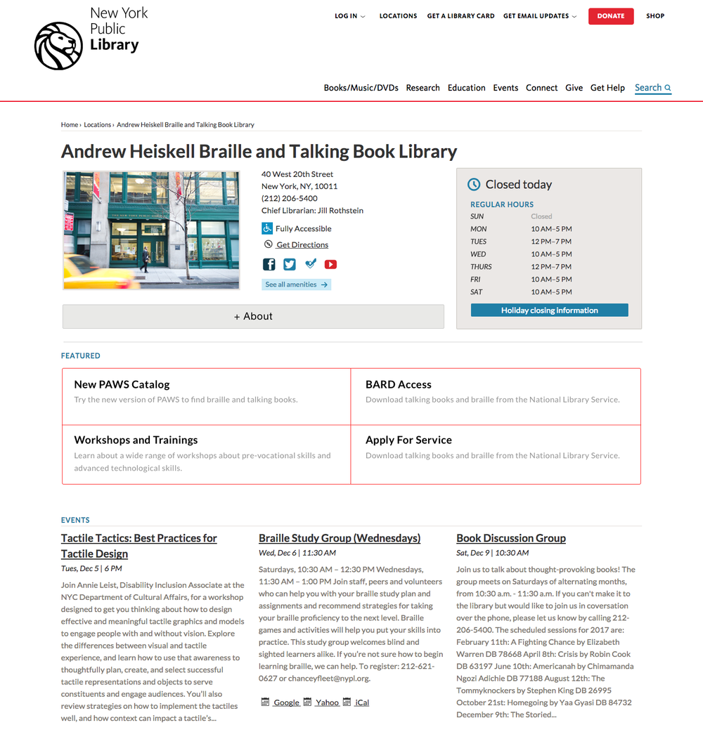 New design of Andrew Heiskell Library's website. Homepage (left) and Trainings and Workshops page (right).