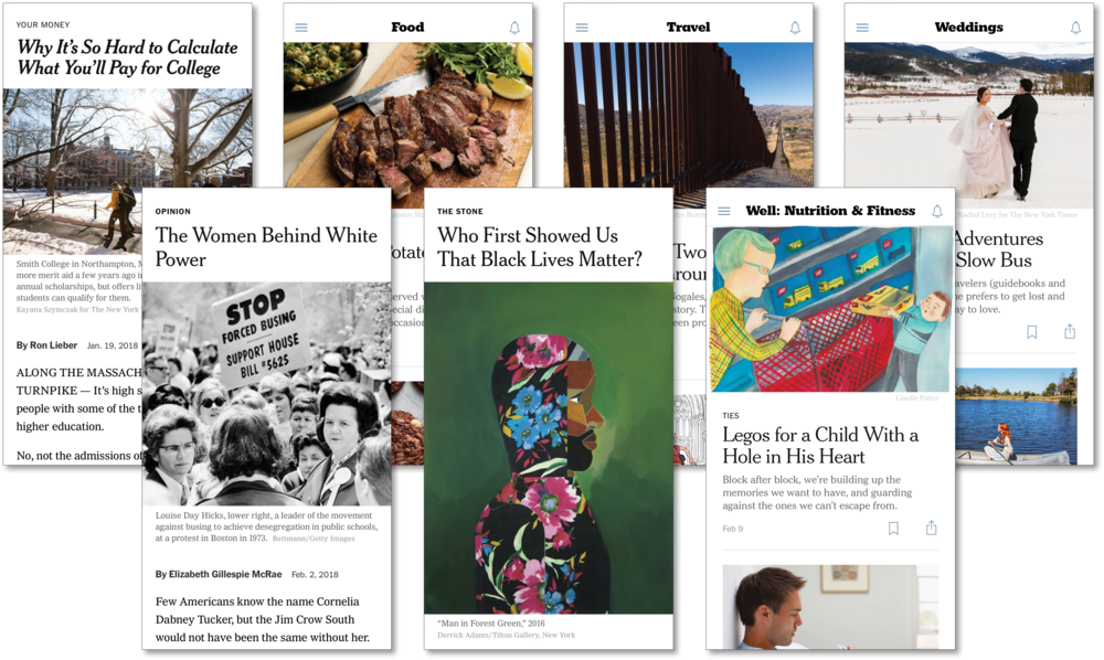 Screenshots of NYT's sections