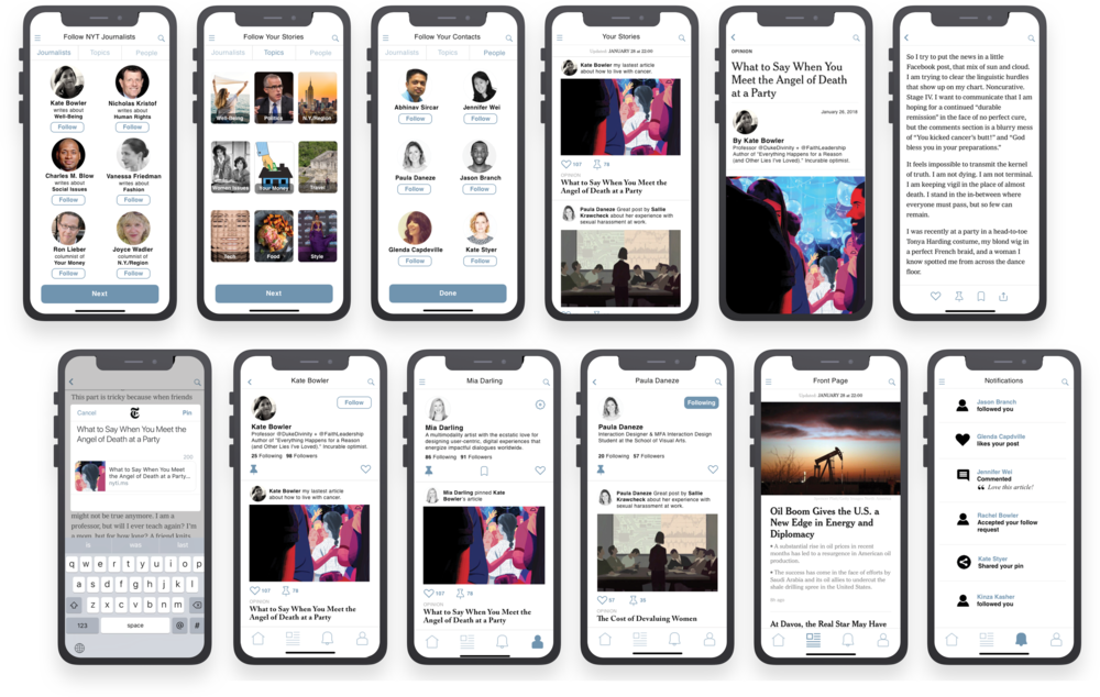 Screens above, from left to right: Follow NYT Journalists, Follow Your Stories, Follow Your Contacts, Your Stories, Your Stories end view.  Below: Pin (share) a Story, Journalist Profile, User Profile, Friend Profile, Front Page News and Notifications.