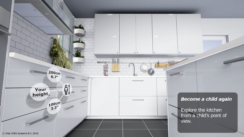 Nifty feature which allows you to see the kitchen from a child's perspective.