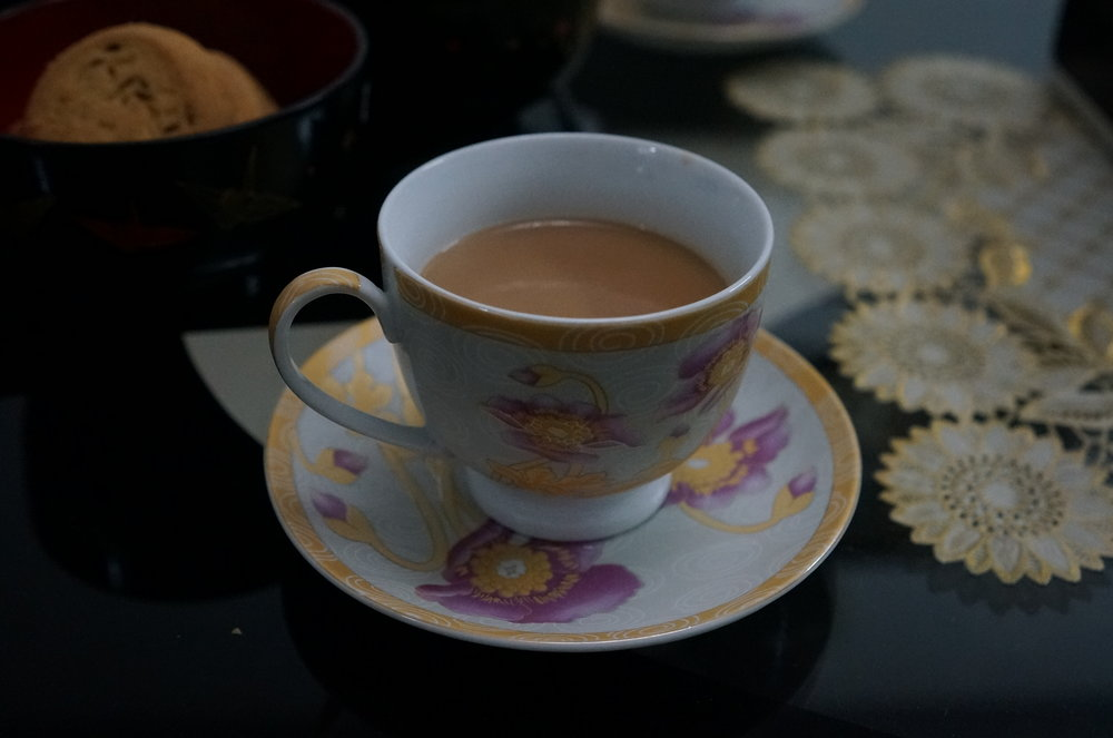 Masala chai -flavoured tea beverage made by brewing black tea with a mixture of aromatic Indian spices, and herbs. It tastes better when it's really hot.