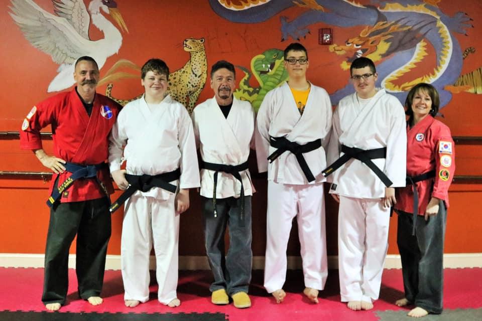 Black Belt Pandas! - Mt. Airy Mayor, Patrick Rockinberg, joins HiYa Karate for HiYa's first Black Belt Test for special needs. Congratulations to Jack Stile, Joey Looper and Jason Southworth for a well-earned 1st Dan Black Belt! -April, 2019