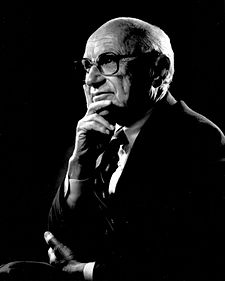 Milton Friedman (1912 – 2006) was an American economist, statistician, and writer who taught at the University of Chicago for more than three decades. He was a recipient of the 1976 Nobel Memorial Prize in Economic Sciences, and is known for his research on consumption analysis, monetary history and theory, and the complexity of stabilization policy. As a leader of the Chicago school of economics, he profoundly influenced the research agenda of the economics profession.