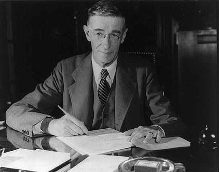 Vannevar Bush (1890 – 1974) was an American engineer, inventor and science administrator, whose most important contribution was as head of the U.S. Office of Scientific Research and Development (OSRD) during World War II, through which almost all wartime military R&D was carried out, including initiation and early administration of the Manhattan Project.