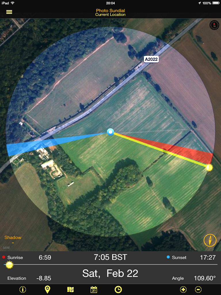 Photo Sundial app Map view {click picture to enlarge}