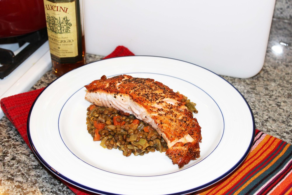 My version of Salmon with Lentils, Image:  Laura Messersmith