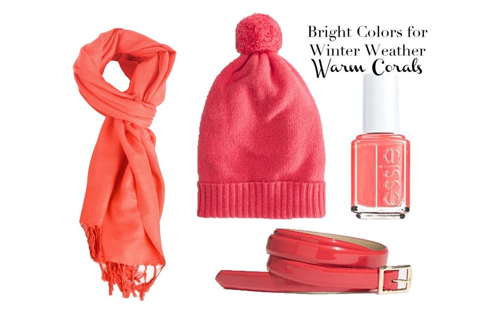 Design:  Laura Messersmith ; Product Images:  Deep Coral Scarf (Similar)  ,   Brilliant Coral Pom Pom Hat  ,   Nail polish in Sunday Funday  ,   Smoky Coral Belt