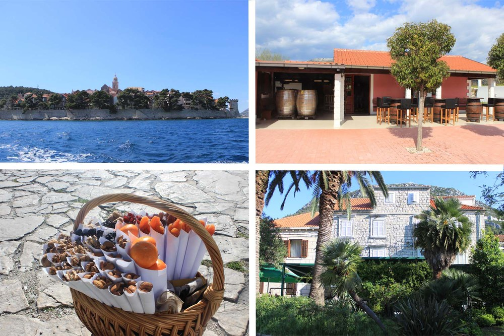 Clockwise from top Right:  Korčula,     Pelješac   Winery, Ston, Dried Fruits  | Images:  Laura Messersmith