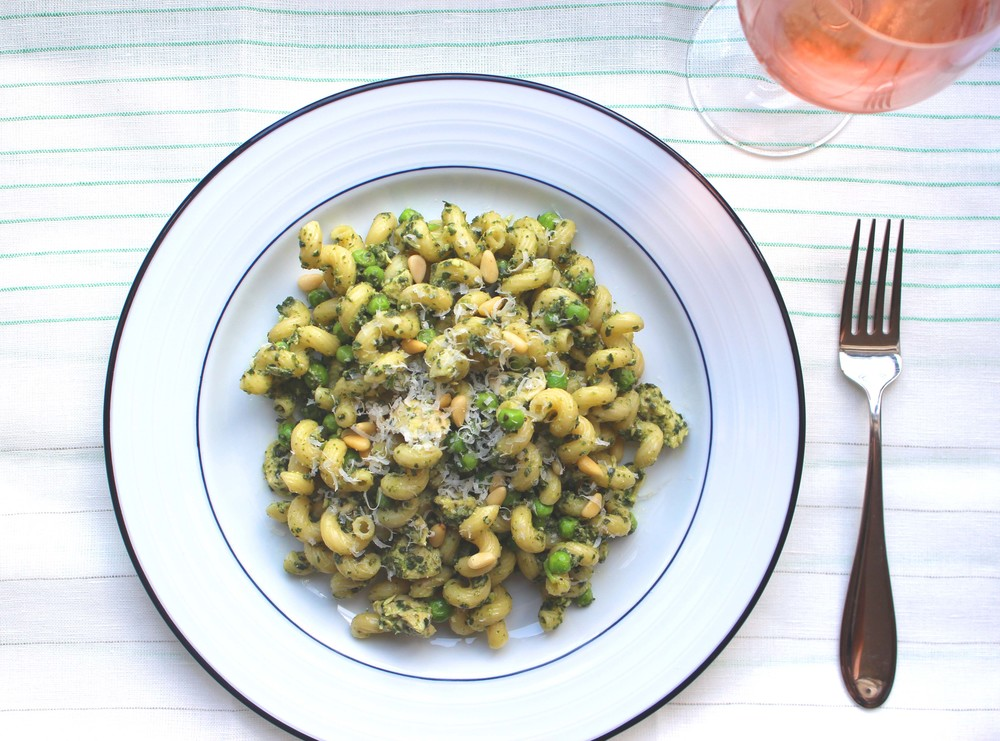 Pesto Pasta with Green Peas and Chicken  | Image:  Laura Messersmith