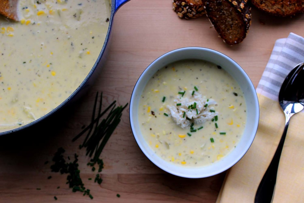 Farm Stand Corn Chowder with Crab   | Image:   Laura Messersmith