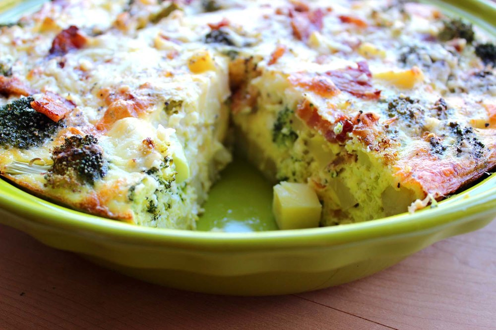 Cheddar Broccoli Frittata with Crispy Bacon  | Image:  Laura Messersmith