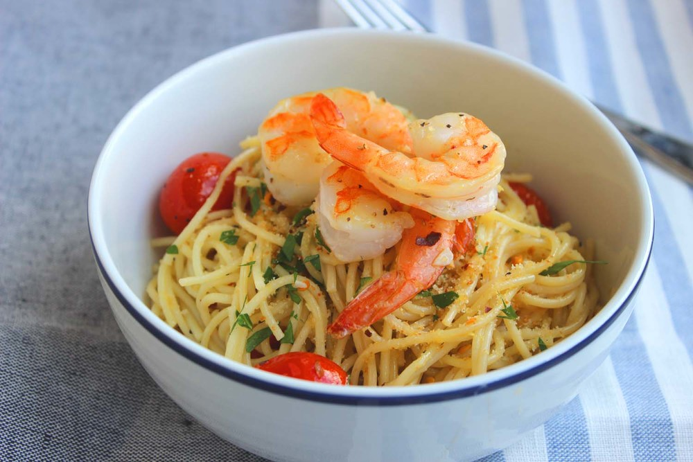 Lemon Pasta with Shrimp & Roasted Tomatoes | Image: Laura Messersmith