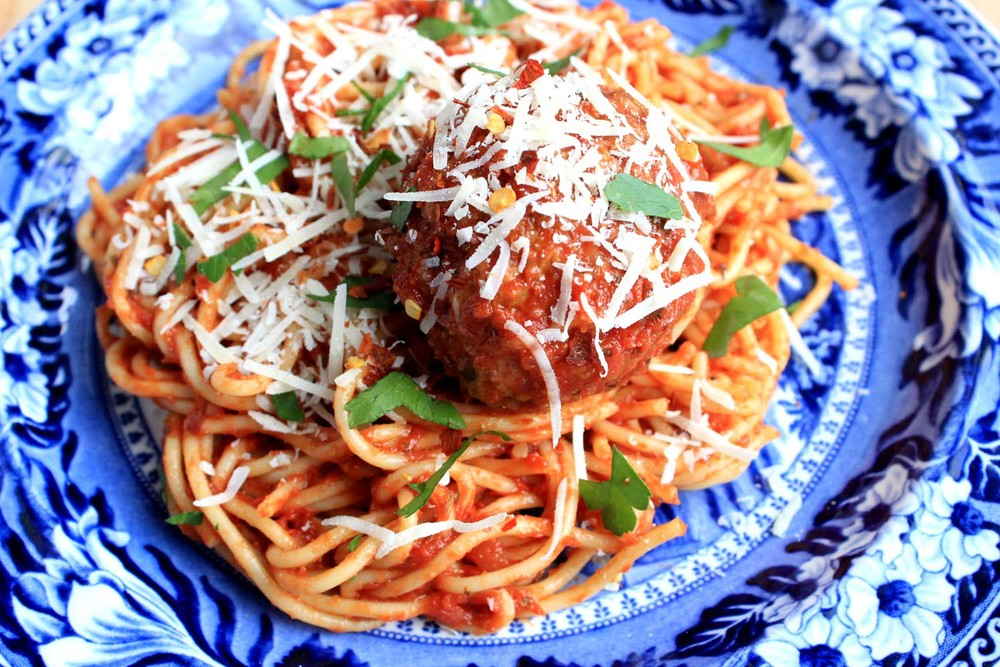 Spicy Turkey Meatballs and Spaghetti   | Image:   Laura Messersmith