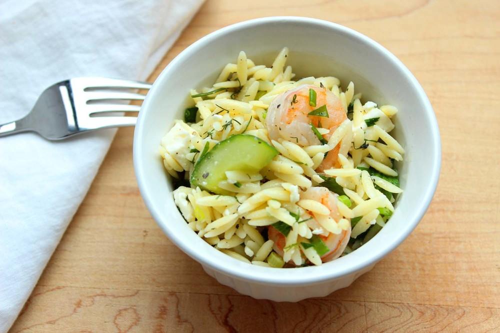 Roasted Shrimp, Feta & Orzo Salad | Image: Laura Messersmith
