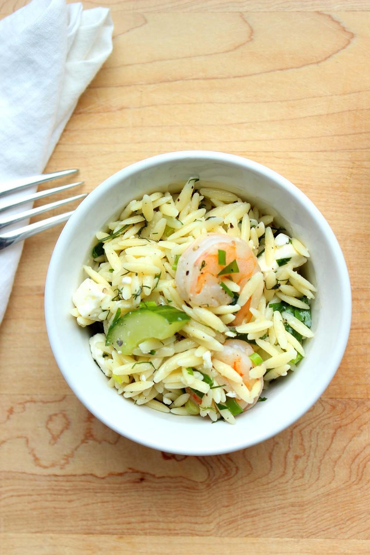 Roasted Shrimp, Feta & Orzo Salad| Image: Laura Messersmith