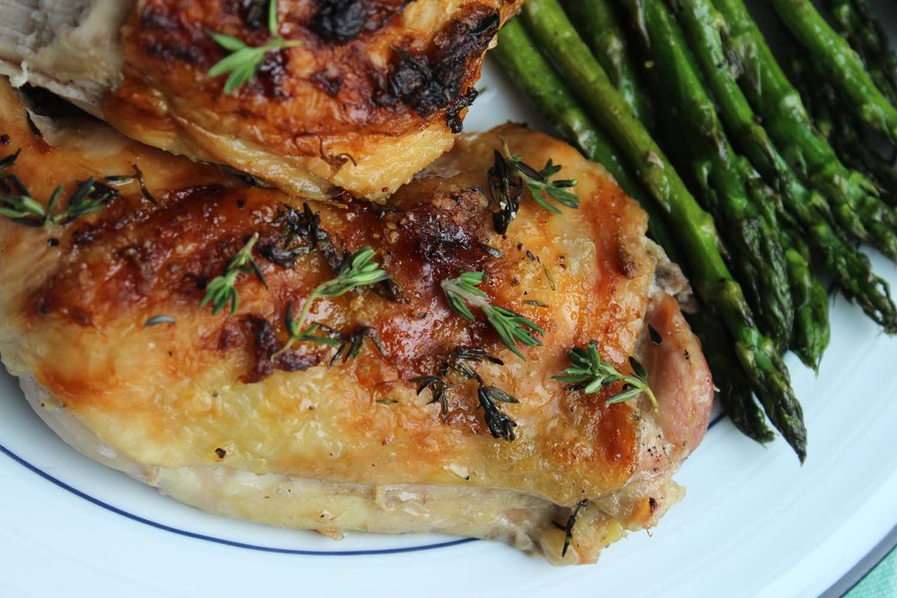 Roast Chicken with Rhubarb Butter | Image: Laura Messersmith