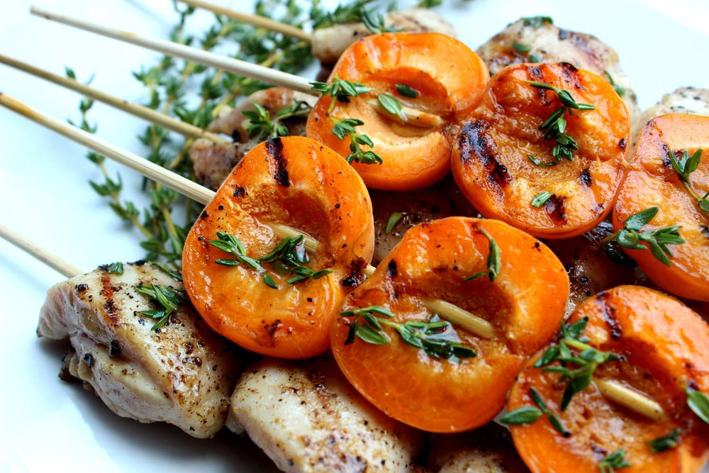 Honey Thyme Chicken and Apricot Kebabs | Image: Laura Messersmith
