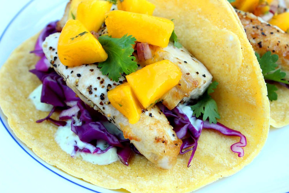 Mahi Mahi Fish Tacos with Mango Salsa  | Image:  Laura Messersmith