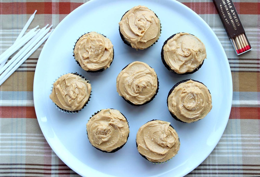 Salted Peanut Butter Chocolate Cupcakes | Image: Laura Messersmith