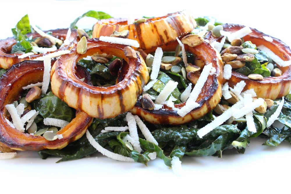 Marinated Kale Salad with Roasted Delicata Squash & Parmesan   | Image:   Laura Messersmith
