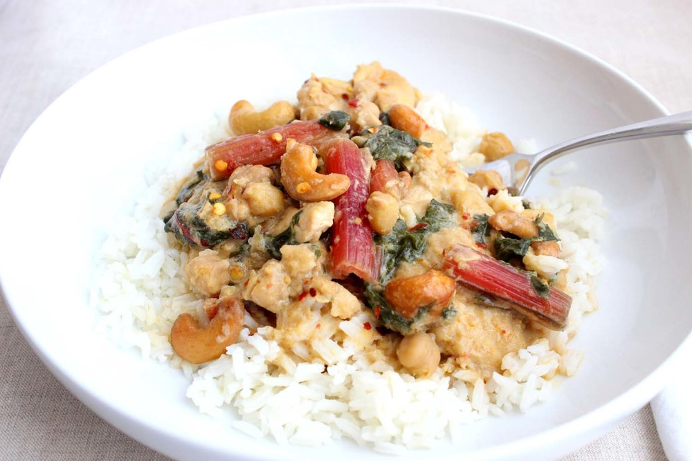 Thai Chicken Coconut Curry with Chickpeas & Rainbow Chard   | Image:   Laura Messersmith
