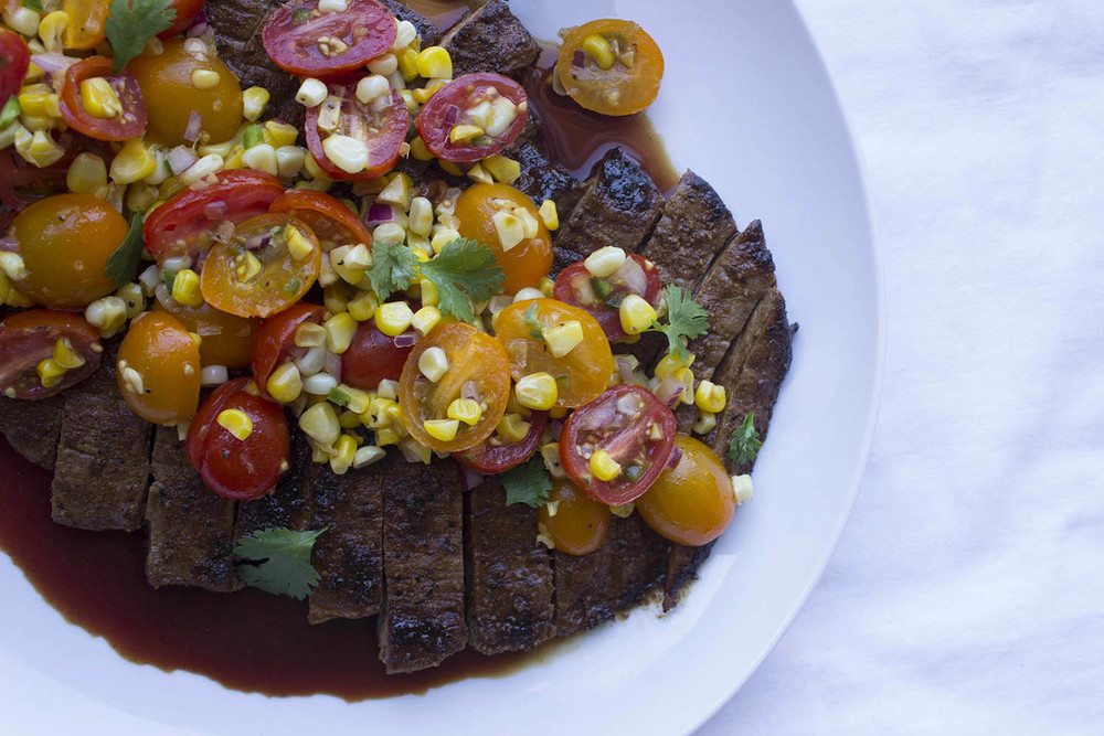 Spice Rubbed Flank Steak with Fresh Tomato Corn Salsa  | Image:  Laura Messersmith