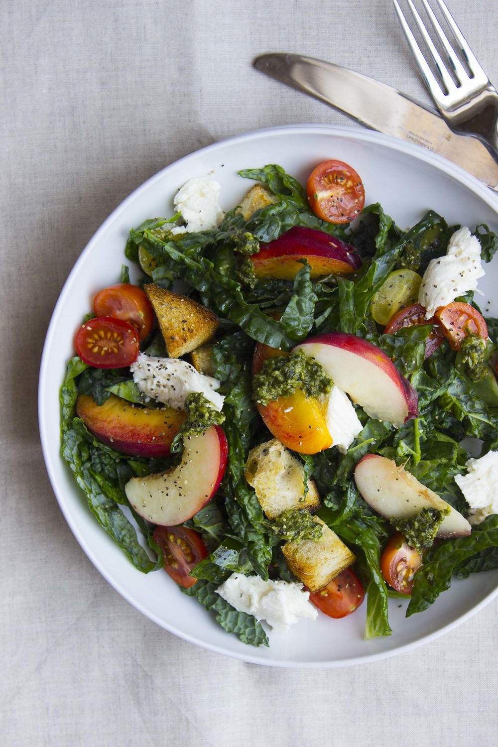 Summer Panzanella Salad with Pesto Vinaigrette  | Image:  Laura Messersmith